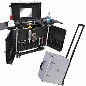 Portable Barber Hair Tools Case, Aluminum Hair Train Case