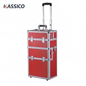 Aluminium Cosmetic Case with Trolley and 3 Layers