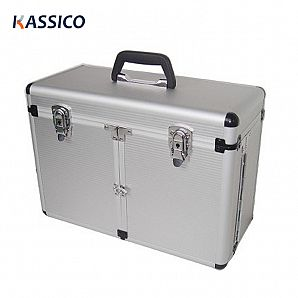 Aluminum Makeup Cosmetic Train Case with Trolley