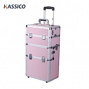 Aluminum Cosmetic Cases with Trolley For Train