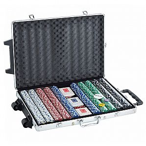 1000 poker chip aluminum case with rolling trolley