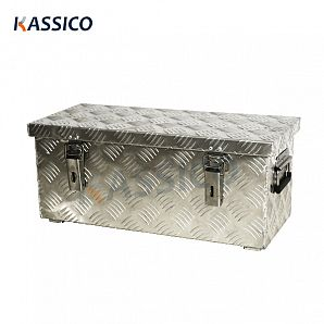 37L Aluminium Transport Box, Silver Lattice Box